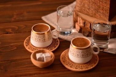 Bambum Ottoman 2 Kişilik Kahve Takimi Desen Altlikli Renkli